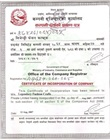 Certified translation of legalized copy of certificate of incorporation/business registration